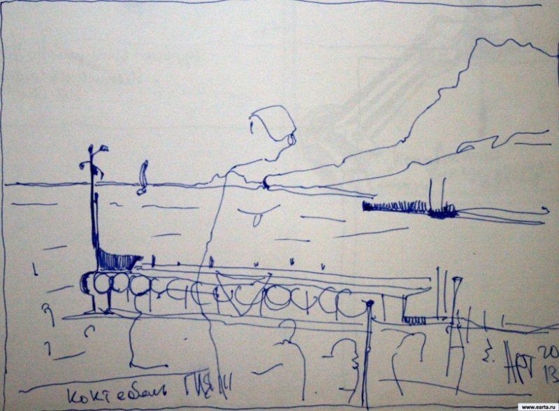 Embankment in Koktebel earta.ru sketch / drawing / photo