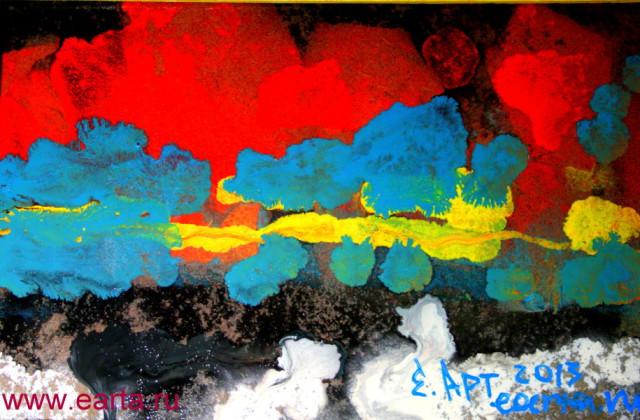 Тревожный пейзаж с красным небом (бумага/маркер А4) earta.ru рисунок/набросок/фото/