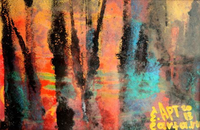 Зимняя затопленная роща пейзаж (23/16 см) earta.ru рисунок/набросок/фото/