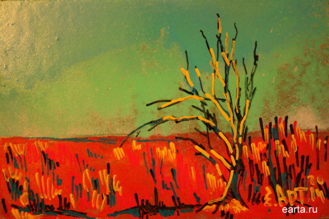 Дерево в красном весеннем поле этюд рисунок\набросок\фото