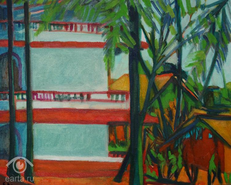 "Картина маслом на холсте, пейзаж ""Отель Hankars Mandrem india goa"" (Е.Арт) 2018г GOA india"