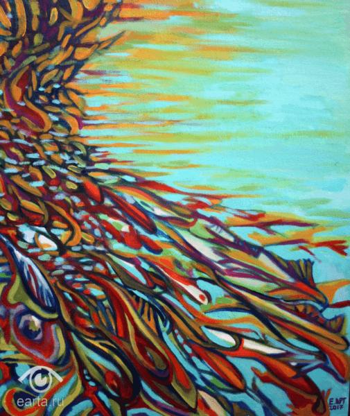 """Картина маслом на холсте, пейзаж """"Цветные рыбы"""" (Е.Арт) 2013г Электросталь, Москва"""